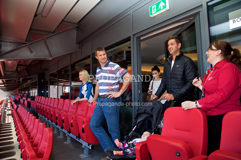 LIVERPOOL, ENGLAND - Sunday, June 18, 2017: Barry Cowan and Marcus Willis look out from the boardroom on a visit Anfield during Day Four of the Liverpool Hope University International Tennis Tournament 2017. (Pic by David Rawcliffe/Propaganda)