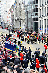 The coffin of Margaret Thatcher travels past Fleet Street, during the funeral of Baroness Margaret Thatcher, London, UK, Wednesday 17 April, 2013, Photo by: i-Images