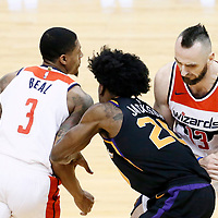 07 December 2017: Washington Wizards guard Bradley Beal (3) drives past Phoenix Suns forward Josh Jackson (20) on a screen set by Washington Wizards center Marcin Gortat (13) during the Washington Wizards 109-99 victory over the Phoenix Suns, at the Talking Stick Resort Arena, Phoenix, Arizona, USA.