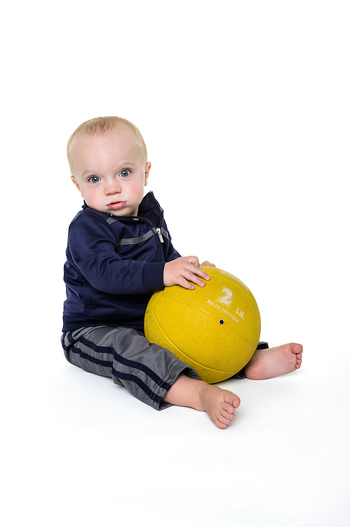 Greyson Verstegen, fourteen-month-old son of fitness trainer Shana Verstegen, is pictured in a studio portrait in Madison, Wis., on Aug. 21, 2016. (Photo by Jeff Miller, www.jeffmillerphotography.com)