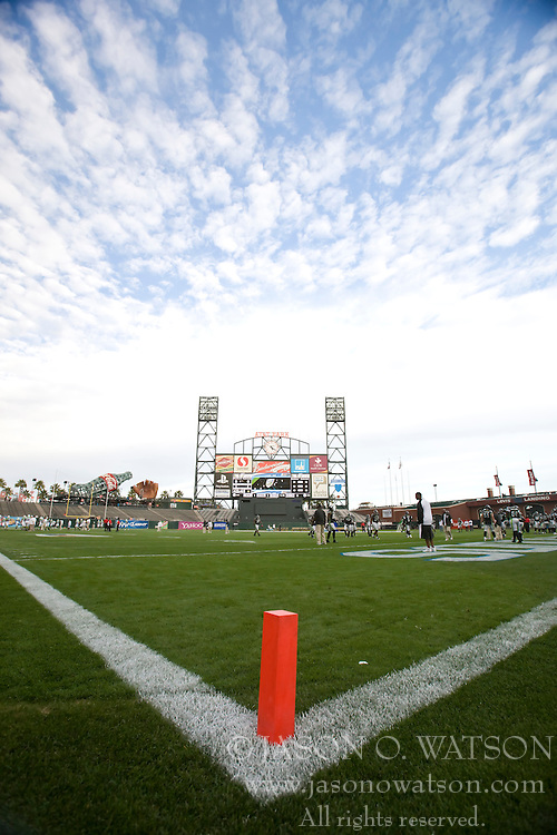 October 17, 2009; San Francisco, CA, USA;  The New York Sentinels faced the California Redwoods in UFL football at AT&T Park. California won 24-7.