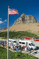 Shuttle buses at Logan Pass, Glacier National Park Montana USA