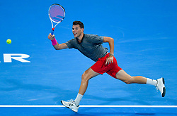 Dominic Thiem of Austria returns the ball to Pierre-Hugues HERBERT of France during their first round of ATP Qatar Open Tennis match at the Khalifa International Tennis Complex in Doha, capital of Qatar, on January 01, 2019. Herbert won 2-0  (Credit Image: © Nikku/Xinhua via ZUMA Wire)