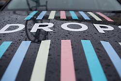 Raindrops of the Drops Cycling Team team car before Stage 2 of the Emakumeen Bira - a 90.8 km road race, starting and finishing in Markina Xemein on May 18, 2017, in Basque Country, Spain. (Photo by Balint Hamvas/Velofocus)
