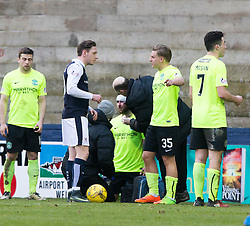 Hibernian's James Keating clash heads with Raith Rovers Jason Thomson. Raith Rovers 1 v 1 Hibernian, Scottish Championship game played 18/2/2017 at Starks Park.