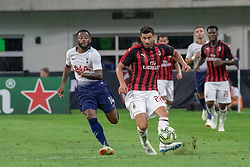 July 31, 2018 - Minneapolis, Minnesota, U.S - Milan's MATEO MUSACCHIO (22) sends the ball forward in front of GEORGES-KEVIN NKOUDOU (14) in the first half. (Credit Image: © Keith R. Crowley via ZUMA Wire)