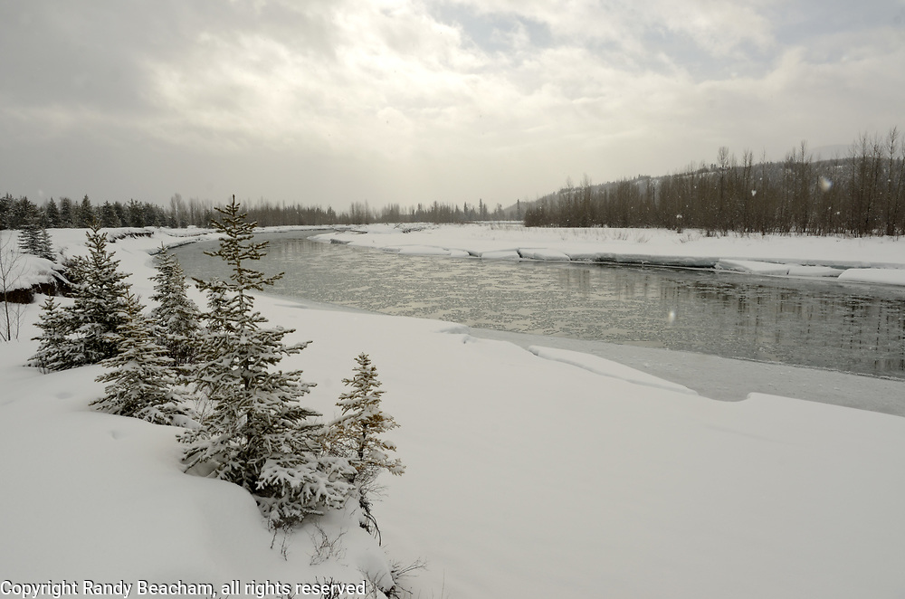 North Fork Flathead River from Glacier National Park during the winter of 2016-2017. Near Polebridge, Montana.