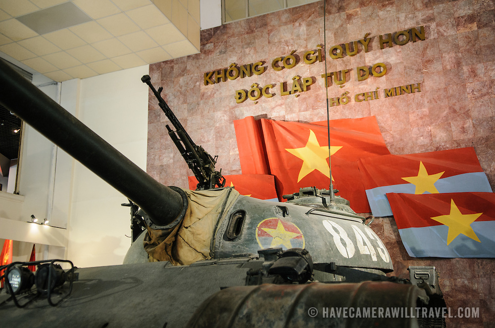 A captured tank on display at the Vietnam Military History Museum. The museum was opened on July 17, 1956, two years after the victory over the French at Dien Bien Phu. It is also known as the Army Museum (the Vietnamese had little in the way of naval or air forces at the time) and is located in central Hanoi in the Ba Dinh District near the Lenin Monument in Lenin Park and not far from the Ho Chi Minh Mausoleum.