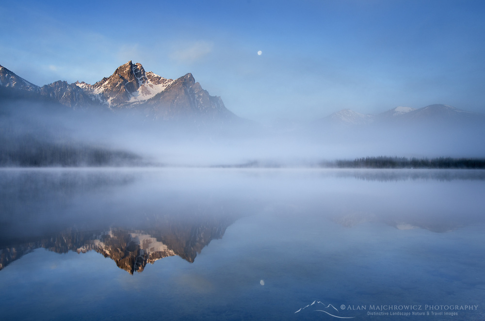 Moon setting over McGown Peak and Stanley Lake, Sawtooth Mountains, Idaho
