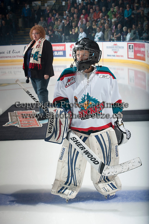 KELOWNA, CANADA - SEPTEMBER 25: The Pepsi Save On Foods Player of the game lines up with the Kelowna Rockets on September 25, 2015 at Prospera Place in Kelowna, British Columbia, Canada.  (Photo by Marissa Baecker/Shoot the Breeze)  *** Local Caption *** Pepsi Save On Foods Player of the Game;