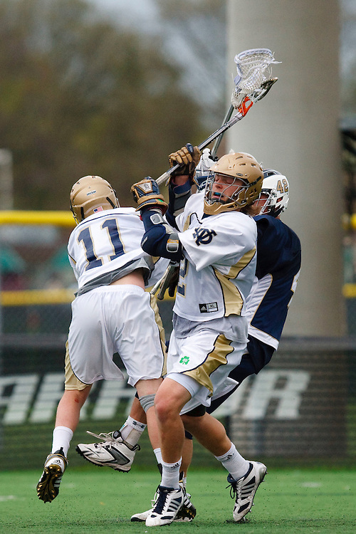 May 1, 2009:    #2Duncan Swezey of Notre Dame, #11Neal Hicks of Notre Dame and #42 Glebocki, Jake of Quinnipiac in action during the NCAA Lacrosse game between Notre Dame and Quinnipiac at GWLL Tournament in Birmingham, Michigan. (Credit Image: Rick Osentoski/Cal Sport Media)