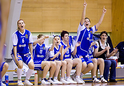 Players of Celje celebrate at finals match of Slovenian 1st Women league between KK Hit Kranjska Gora and ZKK Merkur Celje, on May 14, 2009, in Arena Vitranc, Kranjska Gora, Slovenia. Merkur Celje won the third time and became Slovenian National Champion. (Photo by Vid Ponikvar / Sportida)