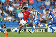 defender Eric Lichaj Nottingham Forest on the ball during the Sky Bet Championship match between Brighton and Hove Albion and Nottingham Forest at The American Express Community Stadium, Brighton and Hove, England on 7 August 2015. Photo by Phil Duncan.