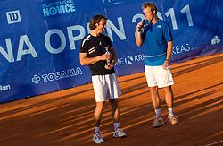 Grega Zemlja of Slovenia (R) and winner Paolo Lorenzi of Italy after  the final match during day seven of the ATP Challenger Tour BMW Ljubljana Open 2011, on September 25, 2011, in TC Ljubljana Siska, Slovenia. (Photo by Vid Ponikvar / Sportida)