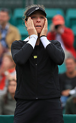 Johanna Konta reacts after her WTA Singles Final match with Ashleigh Barty during day seven of the Nature Valley Open at Nottingham Tennis Centre.
