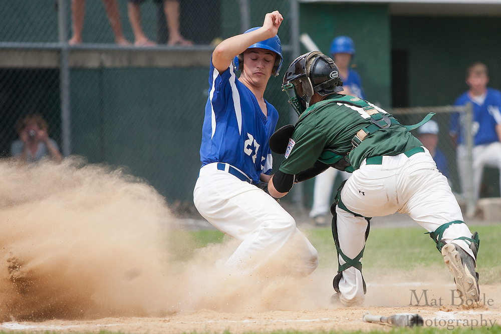 Waldo County Maine's Patrick Later is safe at home beating West Deptford's Tyler Strano's tag during a elimination bracket game of the Eastern Regional Senior League tournament held in West Deptford on Sunday, August 7.