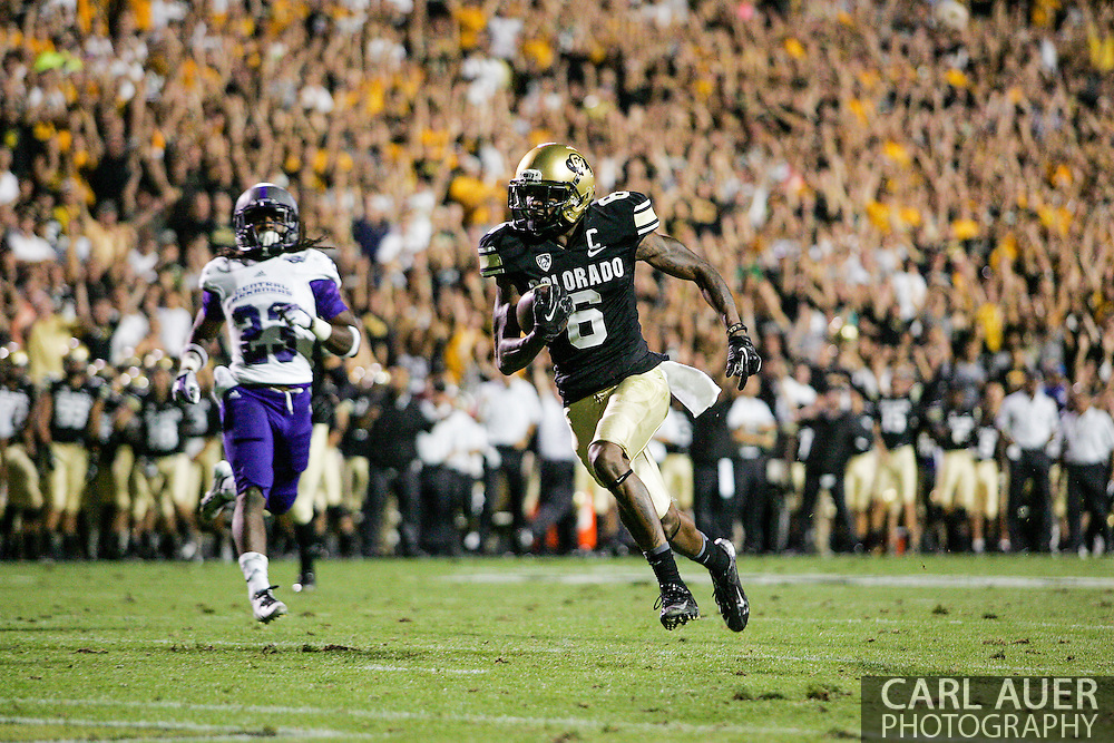September 7th, 2013 - Colorado Buffaloes junior wide receiver Paul Richardson (6) heads to the end zone for a fourth quarter touchdown in the NCAA football game between the University of Central Arkansas Bears and the University of Colorado Buffaloes at Folsom Field in Boulder, CO