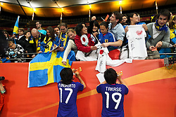 13.07.2011, Commerzbank Arena, Frankfurt, GER, FIFA Women Worldcup 2011, Halbfinale,  Japan (JPN) vs. Schweden (SWE), im Bild.Yuki Nagasato (Japan / Potdsam) (L) und Megumi Takase (Japan) (R) schreiben nach dem Spiel Autogramme.. // during the FIFA Women´s Worldcup 2011, Semifinal, Japan vs Sweden on 2011/07/13, Commerzbank Arena, Frankfurt, Germany.   EXPA Pictures © 2011, PhotoCredit: EXPA/ nph/  Mueller       ****** out of GER / CRO  / BEL ******