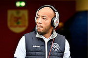Alex John-Baptiste (20) of Queens Park Rangers wearing beats headphones before the EFL Sky Bet Championship match between Bristol City and Queens Park Rangers at Ashton Gate, Bristol, England on 27 January 2018. Photo by Graham Hunt.