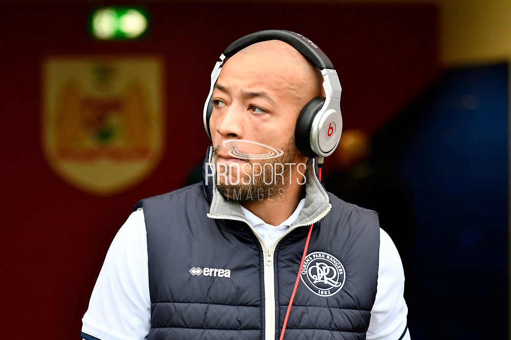 Alex John-Baptiste (20) of Queens Park Rangers wearing beats headphones before the EFL Sky Bet Championship match between Bristol City and Queens Park Rangers at Ashton Gate, Bristol, England on 27 January 2018. Photo by Graham Hunt.