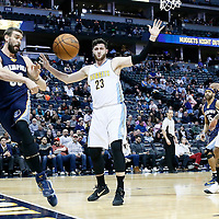 01 February 2016: Memphis Grizzlies center Marc Gasol (33) passes the ball past Denver Nuggets center Jusuf Nurkic (23) during the Memphis Grizzlies 119-99 victory over the Denver Nuggets, at the Pepsi Center, Denver, Colorado, USA.