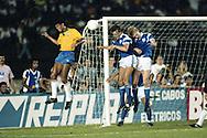 15.4.1992, Estádio Verdão, Cuaibá, Mato Grosso, Brazil.<br /> Friendly International match, Brazil v Finland.<br /> Márcio Santos (Brazil) v Erik Holmgren & Ari Heikkinen (Finland).