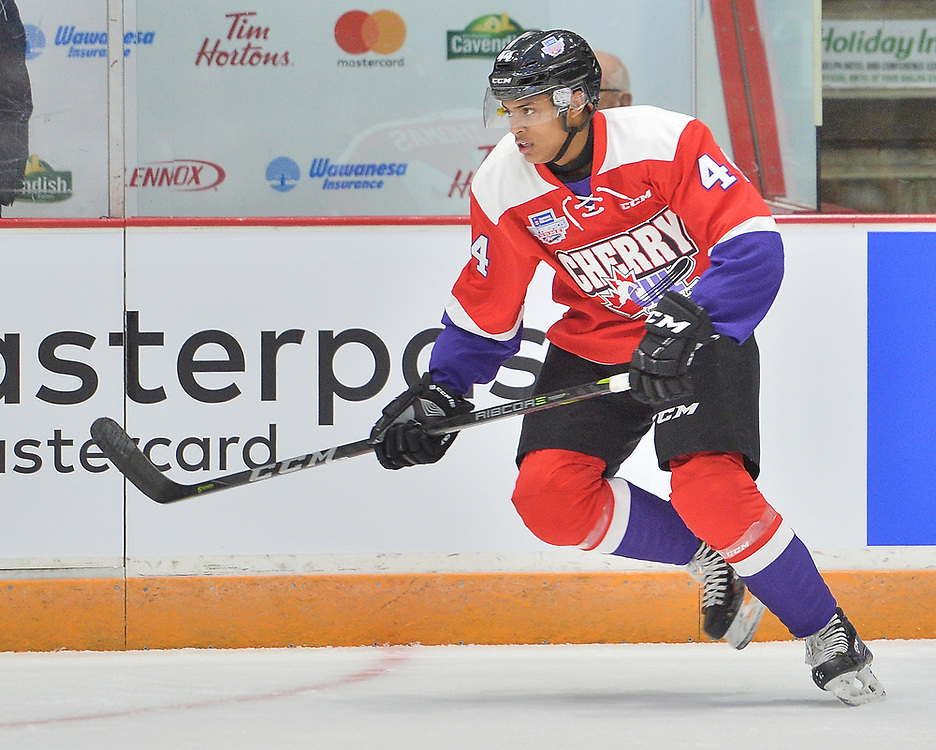 Akil Thomas of the Niagara IceDogs represents Team Cherry in the 2018 Sherwin-Williams CHL / NHL Top Prospects Game held in Guelph,ON on Thursday January 25. Photo by Terry Wilson / CHL Images.