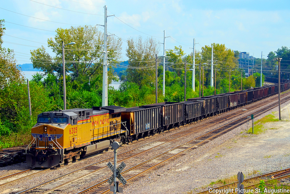 Coal train on the tracks near the Missouri River in the river bottoms of Jefferson City, Mo.