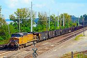 Coal train on the tracks near the Missouri River in the river bottoms of Jefferson City, Mo.