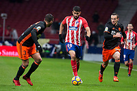 Atletico de Madrid Diego Costa and Valencia Ruben Vezo during La Liga match between Atletico de Madrid and Valencia C.F. at Wanda Metropolitano in Madrid , Spain. February 04, 2018. (ALTERPHOTOS/Borja B.Hojas)