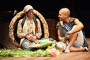 17/05/2012. London, UK.  Featuring a magnificent score played by an orchestra of marimbas and steel pans together with the world-class voices and extraordinary acting talent of the Ensemble. Picture shows: Noluthando Boqwana (The Tortoise) and Luvo Rasemani (Aesop) in Aesop's Fables.