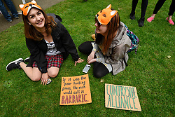 &copy; Licensed to London News Pictures. 29/05/2017. London UK. Demonstrators wearing fox masks join an &quot;Anti-Hunting March&quot; in central London, marching from Cavendish Square to outside Downing Street.  Protesters are demanding that the ban on fox hunting remains, contrary to reported comments by Theresa May, Prime Minister, that the 2004 Hunting Act could be repealed after the General Election.<br />  Photo credit : Stephen Chung/LNP
