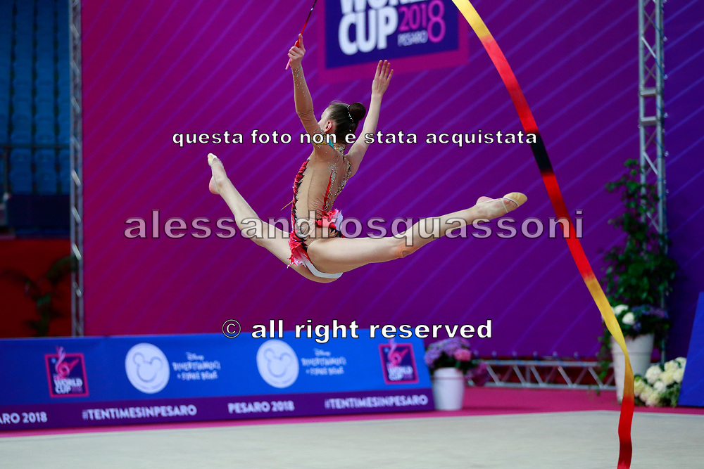 Usmanova Nurinisso during qualification at the ribbon in Pesaro World Cup in 2018. Nurinisso was born in Uzbekistan Samarkand region in 2001
