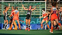 AMSTELVEEN - Rebecca Grote (Ger) heeft de stand op 0-1 gebracht  tijdens de halve finale  Nederland-Duitsland van de Pro League hockeywedstrijd dames. COPYRIGHT KOEN SUYK