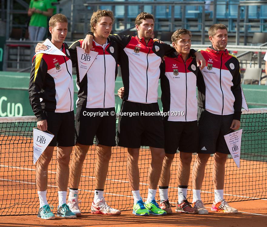 Davis Cup Match GER-POL Eroeffnungsfeier,R-L.deutsche Mannschaft Captain Michael Kohlmann,Daniel Masur,Daniel Brands Jan-Lennard Struff und Florian Mayer.<br /> <br /> <br /> Tennis - Davis Cup GER-POL 2016 - ITF Davis Cup -  Steffi Graf Stadion - Berlin - Berlin - Germany - 16 September 2016. <br /> &copy; Juergen Hasenkopf-Molter