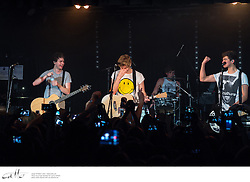 Australian teen indie darlings 5 Seconds Of Summer perform at Oxford Arts Factory in Sydney.  Band members Luke Hemmings, Michael Clifford, Calum Hood and Ashton Irwin have just returned to Australia to work on their debut album after spending much of 2013 touring as the support act to One Direction worldwide.