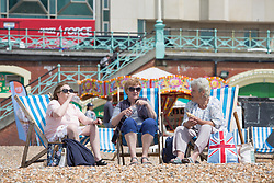 © Licensed to London News Pictures. 22/05/2017. Brighton, UK. Members of the public take advantage of the sunny weather to spent some time on the beach in Brighton and Hove. Forecast predict that today would be the hottest day of 2017 so far. Photo credit: Hugo Michiels/LNP