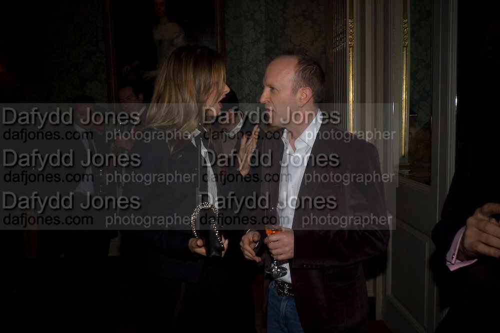 TRINNI WOODALL AND SIMON SEBAG-MONTEFIORE, ' Top Tips for Girls' Kate Reardon - book launch party<br />Claridge's Hotel, Brook Street, London,28 January 2008. -DO NOT ARCHIVE-&copy; Copyright Photograph by Dafydd Jones. 248 Clapham Rd. London SW9 0PZ. Tel 0207 820 0771. www.dafjones.com.