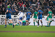 Teddy Thomas (FRA) scored a try during the NatWest 6 Nations 2018 rugby union match between France and Ireland on February 3, 2018 at Stade de France in Saint-Denis, France - Photo Stephane Allaman / ProSportsImages / DPPI
