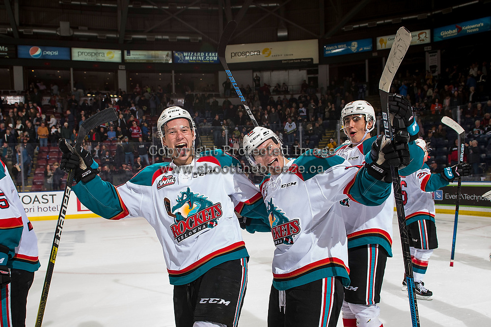 KELOWNA, CANADA - JANUARY 19: Alex Swetlikoff #17, Conner Bruggen-Cate #20 and Michael Farren #16 of the Kelowna Rockets celebrate the shootout win against the Prince Albert Raiders  on January 19, 2019 at Prospera Place in Kelowna, British Columbia, Canada.  (Photo by Marissa Baecker/Shoot the Breeze)