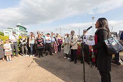© Licensed to London News Pictures. 16/06/2017. LONDON, UK.  Rushanara Ali, MP for Bethnal Green and Bow speaks at The Great Get Together. Neighbours and friends of Jo Cox attend The Great Get Together near Hermitage Moorings in Wapping to pay tribute and celebrate Jo's call that more unites us than divides us on the anniversary of her death. Jo Cox lived on a house boat in Wapping with her husband Brendan Cox and two children. Photo credit: Vickie Flores/LNP