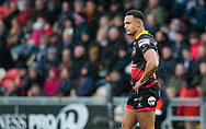 Dragons' Ashton Hewitt<br /> <br /> Photographer Simon King/Replay Images<br /> <br /> Guinness Pro14 Round 11 - Dragons v Cardiff Blues - Tuesday 26th December 2017 - Rodney Parade - Newport<br /> <br /> World Copyright &copy; 2017 Replay Images. All rights reserved. info@replayimages.co.uk - www.replayimages.co.uk