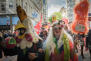 Birmingham, UK. 2nd October 2016. Several hundred demonstrators take to the streets of Birmingham to take part in a protest march organised by the People's Assembly to coincide with the opening day of the Conservative Party conference in the city. Pictured:  Many protesters dressed in costumes at the protest march. // Lee Thomas, Flat 47a Park East Building, Bow Quarter, London, E3 2UT. Tel. 07784142973. Email: leepthomas@gmail.com. www.leept.co.uk (0000635435)