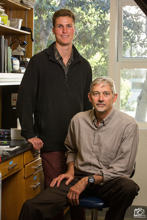 Stanford undergrad Austin Ayer, left, and Director of Hopkins Marine Station Stephen Palumbi pose for a portrait at Stanford University's Hopkins Marine Station in Pacific Grove, California, on February 23, 2016. (Stan Olszewski/SOSKIphoto for Hakai Magazine)