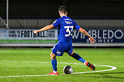 AFC Wimbledon midfielder Callum Reilly (33) scoring goal to make it 3-0 during the Leasing.com EFL Trophy match between AFC Wimbledon and Leyton Orient at the Cherry Red Records Stadium, Kingston, England on 8 October 2019.