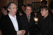 Ian McEwan, Mr. and Mrs. Griff Rhys Jones.  Book party for Saturday by Ian McEwan, Polish Club, South Kensington.  4 February 2005. ONE TIME USE ONLY - DO NOT ARCHIVE  © Copyright Photograph by Dafydd Jones 66 Stockwell Park Rd. London SW9 0DA Tel 020 7733 0108 www.dafjones.com