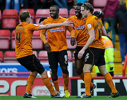 Wolves players celebrate a goal for Forward Bjorn Bergmann Sigurdarson (ISL) (right) during the first half of the match - Photo mandatory by-line: Rogan Thomson/JMP - Tel: Mobile: 07966 386802 01/12/2012 - SPORT - FOOTBALL - Ashton Gate - Bristol. Bristol City v Wolverhampton Wanderers - npower Championship.