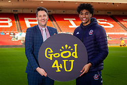 Good 4 U's Karol Butler and Bristol Flyers Justin Gray - Ryan Hiscott/JMP - 09/01/2019 - COMMERCIAL - Ashton Gate - Bristol, England - Bristol Sport Announce Sponsor Partnership with Good 4 U