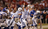 Peyton Manning leaps up in jubilation as the Colts win over the Bucs during overtime at the game at Raymond James Stadium in Tampa,  Fl. on Monday (10/06/03) (All names from roster)