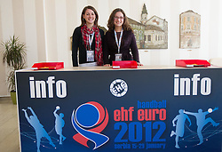 Volunteers during 1st day of 10th EHF European Handball Championship Serbia 2012, on January 15, 2012 in Hotel Srbija, Vrsac, Serbia.  (Photo By Vid Ponikvar / Sportida.com)